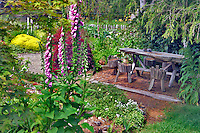 Garden and table at Thompson heather Gardens. California