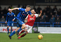 Fleetwood Town's Jason Holt battles with Rochdale's Ethan Hamilton<br /> <br /> Photographer Hannah Fountain/CameraSport<br /> <br /> The EFL Sky Bet League One - Rochdale v Fleetwood Town - Saturday 19 January 2019 - Spotland Stadium - Rochdale<br /> <br /> World Copyright © 2019 CameraSport. All rights reserved. 43 Linden Ave. Countesthorpe. Leicester. England. LE8 5PG - Tel: +44 (0) 116 277 4147 - admin@camerasport.com - www.camerasport.com