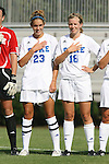24 August 2008: Duke's Ashley Rape (23) and Kelly McCann (18). The Duke University Blue Devils defeated the Coastal Carolina University Lady Chanticleers 9-0 at Koskinen Stadium in Durham, North Carolina in an NCAA Division I Women's college soccer game.