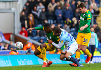 Preston North End's Darnell Fisher shields the ball from Blackburn Rovers' Bradley Dack<br /> <br /> Photographer Alex Dodd/CameraSport<br /> <br /> The EFL Sky Bet Championship - Blackburn Rovers v Preston North End - Saturday 9th March 2019 - Ewood Park - Blackburn<br /> <br /> World Copyright © 2019 CameraSport. All rights reserved. 43 Linden Ave. Countesthorpe. Leicester. England. LE8 5PG - Tel: +44 (0) 116 277 4147 - admin@camerasport.com - www.camerasport.com