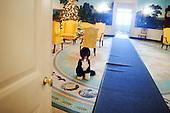 Washington, DC - December 3, 2009 -- Bo, the Obama family dog, waits near a Christmas tree in the Diplomatic Reception Room of the White House, Thursday, December 3, 2009. .Mandatory Credit: Samantha Appleton - White House via CNP