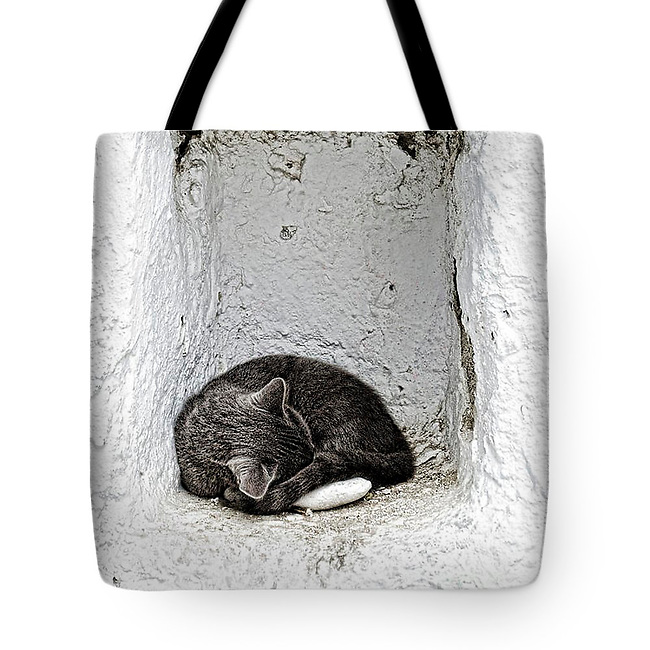 Sleeping cat in Mykonos - Tote bag Sold on FAA.<br />