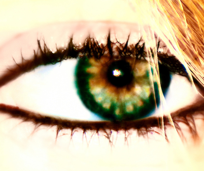 My baby girl's beautiful green eyes ... with gold and brown flecks