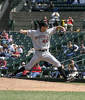 May 16, 2004:  Pitcher Brian Bowles of the Indianapolis Indians, Triple-A International League affiliate of the Milwaukee Brewers, during a game at Frontier Field in Rochester, NY.  Photo by:  Mike Janes/Four Seam Images