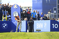 Henrik Stenson (Team Europe) on the 10th tee during Saturday Foursomes at the Ryder Cup, Le Golf National, Ile-de-France, France. 29/09/2018.<br /> Picture Thos Caffrey / Golffile.ie<br /> <br /> All photo usage must carry mandatory copyright credit (&copy; Golffile | Thos Caffrey)