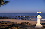 Christian Cross on the beach at Anjuna in Goa in India.
