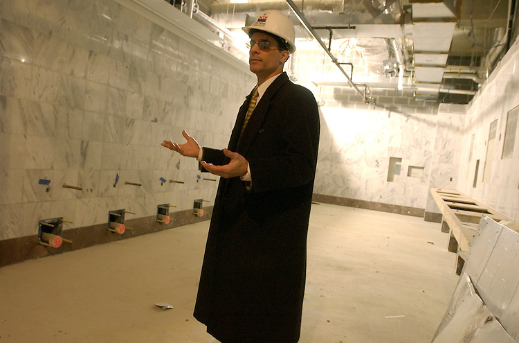 Tom Fontana, communications director of the CVC, talks about a restroom, during a tour of the Capitol Visitor Center.