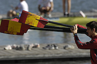 Seville. SPAIN, 16.02.2007. Spanish athlete carries the blades back to the boathouse after a training at the Seville Training Centre, preparing for the weekends - FISA Team Cup [Photo Peter Spurrier/Intersprt Images]    [Mandatory Credit, Peter Spurier/ Intersport Images]. , Rowing Course: Rio Guadalquiver Rowing Course, Seville, SPAIN,