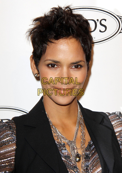 HALLE BERRY.The Diego Della Valle Cocktail Celebration Honoring Tod's Beverly Hills Boutique And MOCA's New Director Jerry Deitch at Tod's Boutique in Beverly Hills, California, USA..April 15th, 2010        .headshot portrait earring silver grey gray black necklace sheer striped .CAP/RKE/DVS.©DVS/RockinExposures/Capital Pictures.