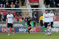 Preston North End's Tom Barkhuizen, Tom Clarke (left) and Paul Huntington (right) show their dejection after going 1-0 behind<br /> <br /> Photographer David Shipman/CameraSport<br /> <br /> The EFL Sky Bet Championship - Rotherham United v Preston North End - Tuesday 1st January 2019 - New York Stadium - Rotherham<br /> <br /> World Copyright © 2019 CameraSport. All rights reserved. 43 Linden Ave. Countesthorpe. Leicester. England. LE8 5PG - Tel: +44 (0) 116 277 4147 - admin@camerasport.com - www.camerasport.com