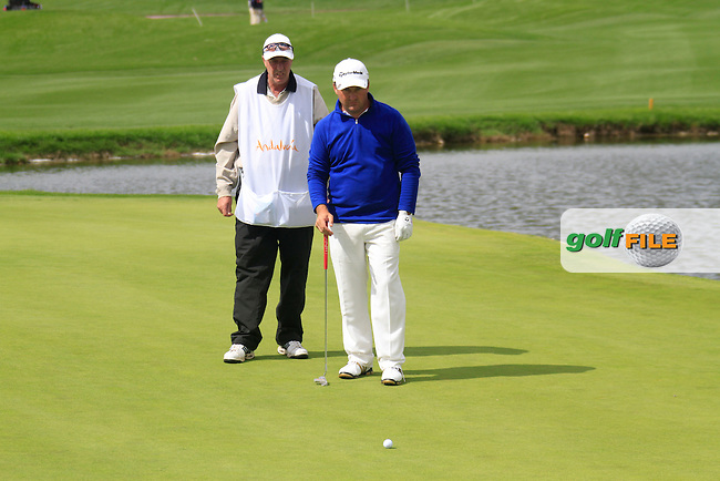 Damien McGrane (IRL) and caddy John Hort on the 14th green during Friday's Round 2 of the Open de Espana at Real Club de Golf de Sevilla, Seville, Spain, 4th May 2012 (Photo Eoin Clarke/www.golffile.ie)