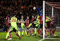Lincoln City's goalkeeper Josh Vickers punches clear from a corner kick<br /> <br /> Photographer Andrew Kearns/CameraSport<br /> <br /> The EFL Sky Bet League One - Lincoln City v Bolton Wanderers - Tuesday 14th January 2020  - LNER Stadium - Lincoln<br /> <br /> World Copyright © 2020 CameraSport. All rights reserved. 43 Linden Ave. Countesthorpe. Leicester. England. LE8 5PG - Tel: +44 (0) 116 277 4147 - admin@camerasport.com - www.camerasport.com