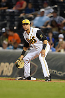 Jacksonville Suns first baseman Viosergy Rosa (44) holds a runner on during game three of the Southern League Championship Series against the Chattanooga Lookouts on September 12, 2014 at Bragan Field in Jacksonville, Florida.  Jacksonville defeated Chattanooga 6-1 to sweep three games to none.  (Mike Janes/Four Seam Images)