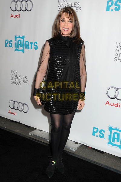 KATE LINDER .16th Annual Los Angeles Antiques Show Opening Night Gala Benefiting P.S. Arts held at Barker Hangar, Santa Monica, California, USA..April 13th, 2011.full length black dress sequins sequined sheer sleeves clutch bag tights.CAP/ADM/BP.©Byron Purvis/AdMedia/Capital Pictures.