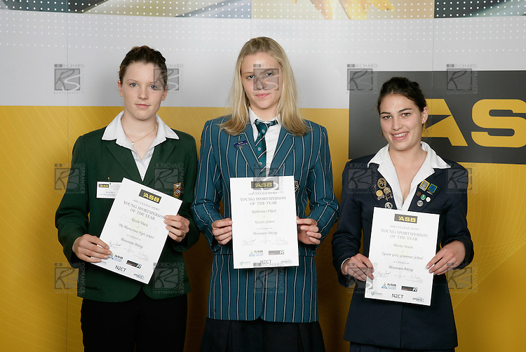 Mountain Biking Girls Finalists. ASB College Sport Young Sportsperson of the Year Awards 2006, held at Eden Park on Thursday 16th of November 2006.<br />