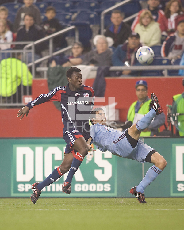 Colorado Rapids defender Facundo Erpen (5) clears ball away from New England Revolution forward Kenny Mansally (29). The Colorado Rapids defeated the New England Revolution, 1-0, at Gillette Stadium on April 12, 2008.