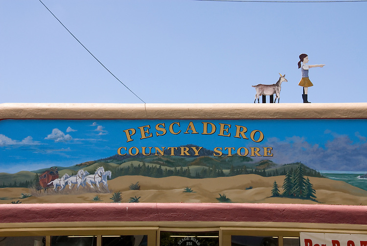 Front of Pescadero Country Store, in Pescadero,.San Mateo Coast of California, south of San Francisco.  Photo copyright Lee Foster, 510-549-2202, lee@fostertravel.com, www.fostertravel.com. Photo 470-31071