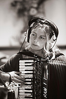 """Clare Juliet from the """"Edge of Chaos Orchestra"""" recording at the Blue Coconut Club, Pulborough, West Sussex."""