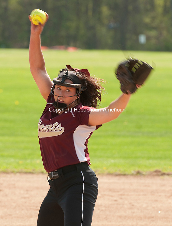WATERBURY, CT--050815JS01-  Sacred Heart's Jolee Iannantuoni  (15) delivers a pitch during there game against Holy Cross Friday at Holy Cross High School in Waterbury. <br /> Jim Shannon Republican-American