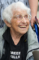 Frances Crowe, 98 year old, 1 of 7 Sugar Shack Alliance members arrested for blocking Kinder Morgan gas pipeline work in Otis State Forest in Sandisfield MA, were arraigned and charged with civil rather than criminal trespassing, at Southern Berkshire District Court in Great Barrington MA June 29, 2017
