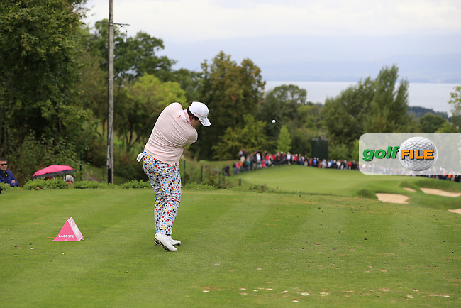 Shanshan Feng (CHN) tees off the 14th tee during Saturday's Round 3 of The 2016 Evian Championship held at Evian Resort Golf Club, Evian-les-Bains, France. 17th September 2016.<br /> Picture: Eoin Clarke | Golffile<br /> <br /> <br /> All photos usage must carry mandatory copyright credit (&copy; Golffile | Eoin Clarke)