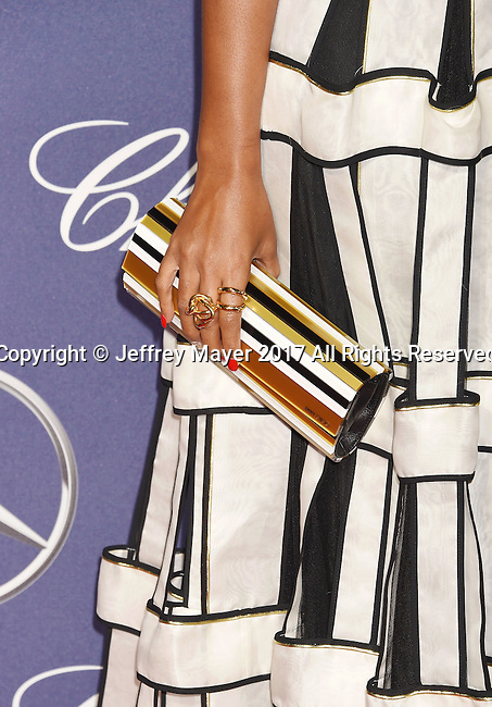 PALM SPRINGS, CA - JANUARY 02: Actress/singer Janelle Monae, handbag, rings detail, at the 28th Annual Palm Springs International Film Festival Film Awards Gala at the Palm Springs Convention Center on January 2, 2017 in Palm Springs, California.