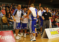 Saints players celebrate their lead just before halftime during the NBL Round 14 match between the Manawatu Jets  and Wellington Saints. Arena Manawatu, Palmerston North, New Zealand on Saturday 31 May 2008. Photo: Dave Lintott / lintottphoto.co.nz