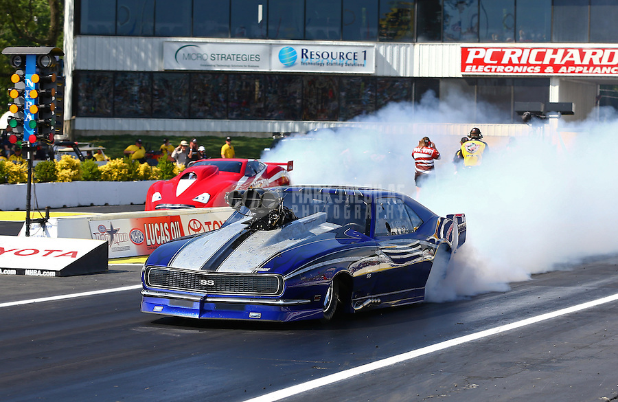 May 31, 2013; Englishtown, NJ, USA: NHRA pro mod driver Kevin McCurdy during qualifying for the Summer Nationals at Raceway Park. Mandatory Credit: Mark J. Rebilas-