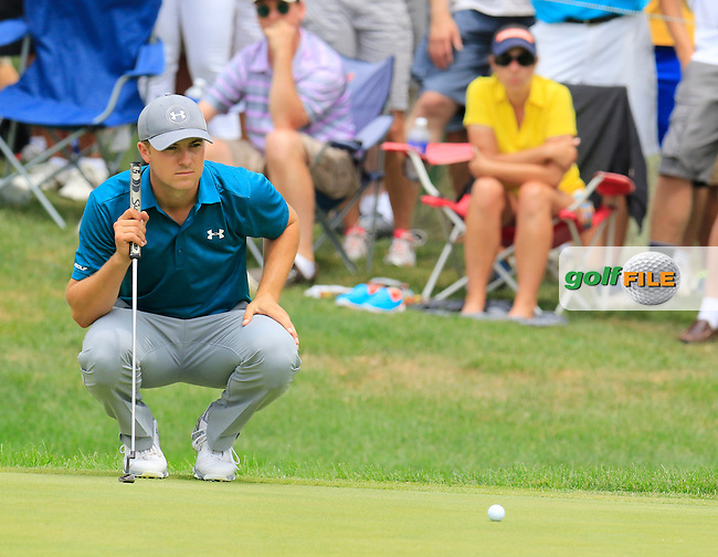 Jordan Spieth (USA) lines up his putt on the 7th green during Sunday's Final Round of the 2015 Bridgestone Invitational World Golf Championship held at the Firestone Country Club, Akron, Ohio, United States of America. 9/08/2015.<br /> Picture Eoin Clarke, www.golffile.ie