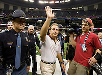 Alabama head coach Nick Saban waves to the fans after winning BCS National Championship game against LSU at Mercedes-Benz Superdome in New Orleans, Louisiana on January 9th, 2012.   Alabama defeated LSU, 21-0.