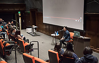 "Oxy Arts Speaker Series: Justin Chon in Choi Auditorium on Feb. 26, 2018.<br /> Justin Chon is a filmmaker and actor. His second feature film, the provocatively titled ""Gook,"" is a look at the 1992 riots in Los Angeles from the perspective of the Korean American community. The story is based on the experiences of Chon's own family as store owners at that time. The film was released on August 18, 2017.<br /> The Oxy Arts Speaker Series brings five multidisciplinary LA-based artists to Occidental College to engage our community in conversation about their art, their inspirations, and why they do what they do in Los Angeles today. All lectures take place in Choi Auditorium, and are free and open the the public.<br /> (Photo by Marc Campos, Occidental College Photographer)"