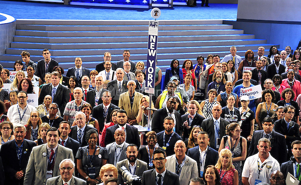 Members of the New York delegation pose for the official group photo at the 2016 Democratic National Convention held at the Wells Fargo Center in Philadelphia, Pennsylvania on Saturday, July 23, 2016.<br /> Credit: Ron Sachs / CNP/MediaPunch<br /> (RESTRICTION: NO New York or New Jersey Newspapers or newspapers within a 75 mile radius of New York City)