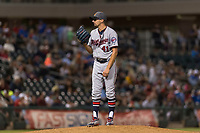AFL East relief pitcher Devin Smeltzer (41), of the Salt River Rafters and the Minnesota Twins organization, looks in for the sign during the Arizona Fall League Fall Stars game at Surprise Stadium on November 3, 2018 in Surprise, Arizona. The AFL West defeated the AFL East 7-6 . (Zachary Lucy/Four Seam Images)