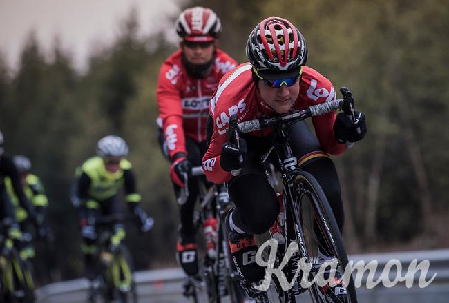 Tim Wellens (BEL/Lotto Soudal) in the drops<br /> <br /> Team Lotto-Soudal at the Li&egrave;ge-Bastogne-Li&egrave;ge 2017 recon