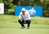 9th February 2018, Lake Karrinyup Country Club, Karrinyup, Australia; ISPS HANDA World Super 6 Perth golf, second round; Jazz Janewattananond (THA) prepares to putt