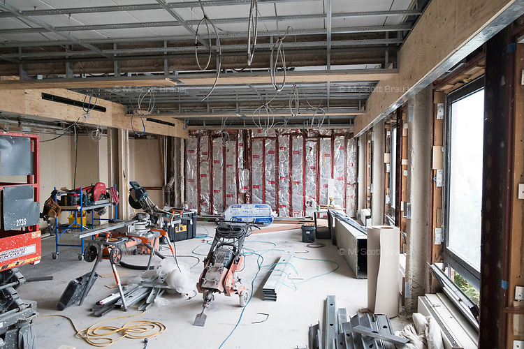 A gutted restaurant space is seen at Gurney's Newport Resort and Marina, which was formerly a Hyatt Regency hotel, on Goat Island in Newport, Rhode Island, on Wed., April 19, 2017. The entire hotel will be renewed with an approximately $18 million renovation to be completed by Memorial Day 2017. The restaurant space, previously housing the Hyatt's Windward Restaurant, will be the location of a new Scarpetta restaurant, an Italian restaurant with locations around the US. The renovation is intended to increase the volume and space of the restaurant.
