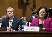 "United States Senators Lindsey Graham (Republican of South Carolina), left and Mazie Hirono (Democrat of Hawaii) are the first panel before the US Senate Committee on Finance ""Hearing to Consider the Graham-Cassidy-Heller-Johnson Proposal"" on the repeal and replace of the Affordable Care Act (ACA) also known as ""ObamaCare"" in Washington, DC on Monday, September 25, 2017.<br /> Credit: Ron Sachs / CNP"