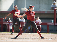 NWA Democrat-Gazette/CHARLIE KAIJO An Arkansas Razorbacks relief pitcher throws a pitch during a softball match, Sunday, October 28, 2018 at Bogle Park, University of Arkansas in Fayetteville.<br />