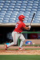 Philadelphia Phillies Ben Akilinski (25) follows through on a swing during a Florida Instructional League game against the New York Yankees on October 12, 2018 at Spectrum Field in Clearwater, Florida.  (Mike Janes/Four Seam Images)