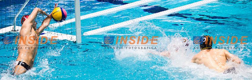 Eindhoven , Netherlands (NED) 17/1/2012.LEN European  Water Polo Championships 2012.Day 02 .Serbia Vs Germany..SRB.1 SORO Slobodan..GER.10 OELER Moritz..Photo Insidefoto / Giorgio Scala
