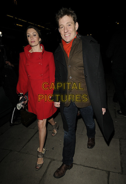 ANNIE & BEN SHEPHERD.At the Gary & Dawn Barlow 10th wedding anniversary party, Mandarin Oriental Hyde Park Hotel, Kinghtsbridge, London, England..January 12th, 2009.full length black coat red holding hands brown jacket jeans denim walking married husband wife.CAP/CAN.©Can Nguyen/Capital Pictures.