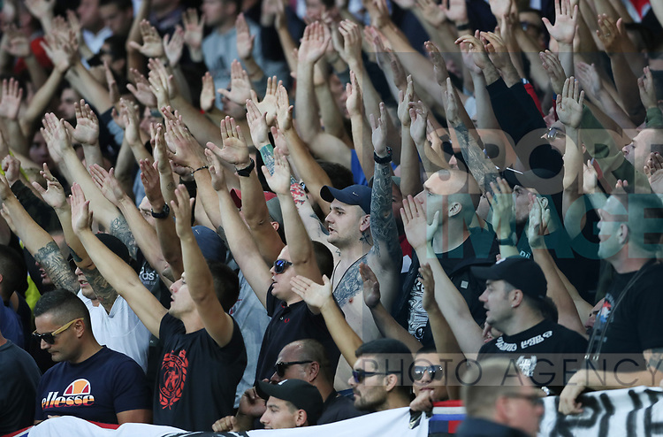 Hajduk Split fans during the Europa League Qualifying Play Offs 1st Leg match at Goodison Park Stadium, Liverpool. Picture date: August 17th 2017. Picture credit should read: David Klein/Sportimage