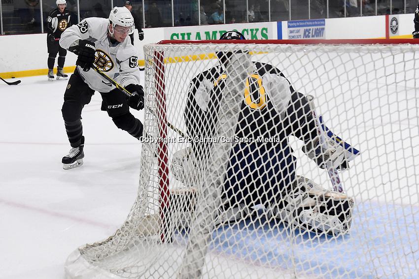 July 14, 2015 - Wilmington, Massachusetts, U.S. - Forward Jesse Gabrielle (58) shoots on goalie Daniel Vladar (70) at the Boston Bruins development camp held at Ristuccia Arena in Wilmington Massachusetts. Eric Canha/CSM