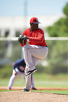 Boston Red Sox pitcher Juan Perez (60) during an Instructional League game against the Minnesota Twins on September 24, 2016 at CenturyLink Sports Complex in Fort Myers, Florida.  (Mike Janes/Four Seam Images)