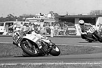 Tsujimoto Satoshi, #604 Suzuki, Randy Texter, #135 Suzuki, Daytona 200, Daytona International Speedway, March 8, 1987.  (Photo by Brian Cleary/bcpix.com)