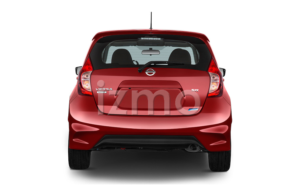 Straight rear view of a 2015 Nissan Versa Note 5 Door Hatchback stock images