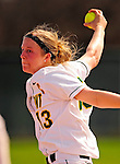 25 April 2009: University of Vermont Catamount pitcher Alison Daggett, a Senior from Fort Collins, CO, in action against the Boston University Terriers at Archie Post Field in Burlington, Vermont. Sadly, the Catamounts are playing their last season of softball, as the program has been marked for elimination due to budgetary constraints at the University. Mandatory Photo Credit: Ed Wolfstein Photo