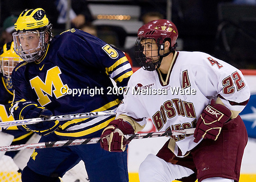 Steve Kampfer (Michigan 5), Dan Bertram (BC 22) - The University of Michigan Wolverines defeated the Boston College Eagles 4-3 in overtime in the opening game of the Ice Breaker Tournament on Friday, October 12, 2007, at the Xcel Energy Center in St. Paul, Minnesota.