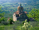 Tuscany, Italy, <br /> Santa Maria del Nuova (1550) set in the hillside at Cortona - above the fields of the Val di Chiana