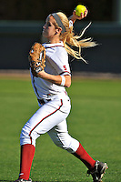 15 February 2008: Jessica Allister during Stanford's 12-2 win over the Santa Clara Broncos at the Boyd and Jill Smith Family Stadium in Stanford, CA., 15 February 2008: Michelle Schroeder during Stanford's 12-2 win over the Santa Clara Broncos at the Boyd and Jill Smith Family Stadium in Stanford, CA.
